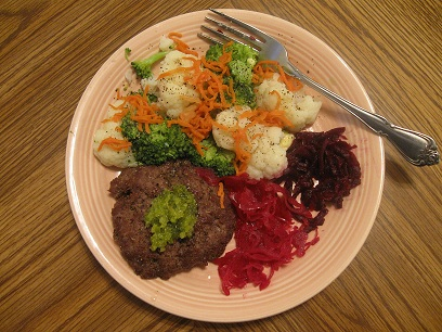 Bison with steamed and fermented veggies